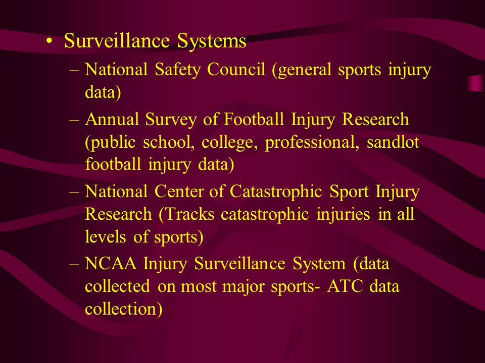 Surveillance Systems National Safety Council (general sports injury data)