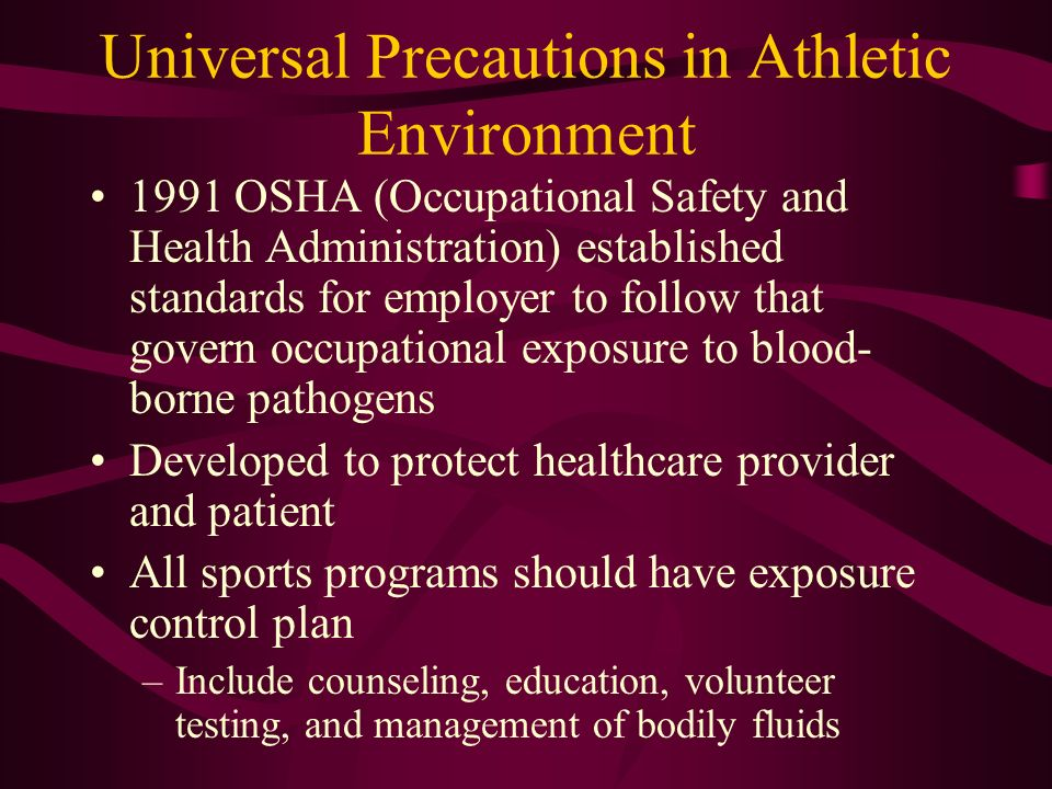 Universal Precautions in Athletic Environment