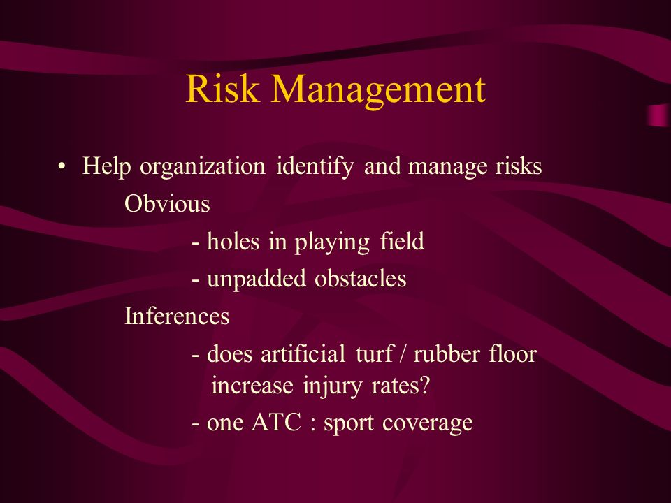 Risk Management Help organization identify and manage risks Obvious