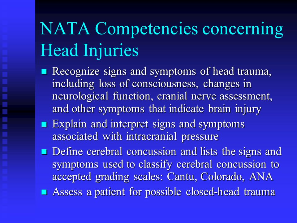 NATA Competencies concerning Head Injuries