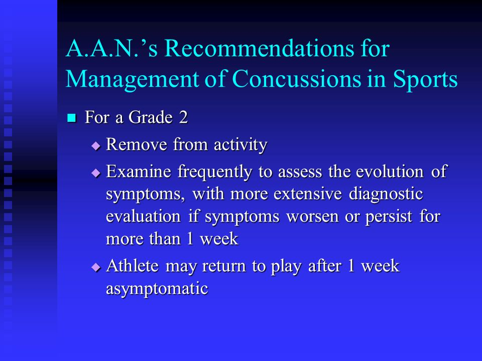 A.A.N.'s Recommendations for Management of Concussions in Sports