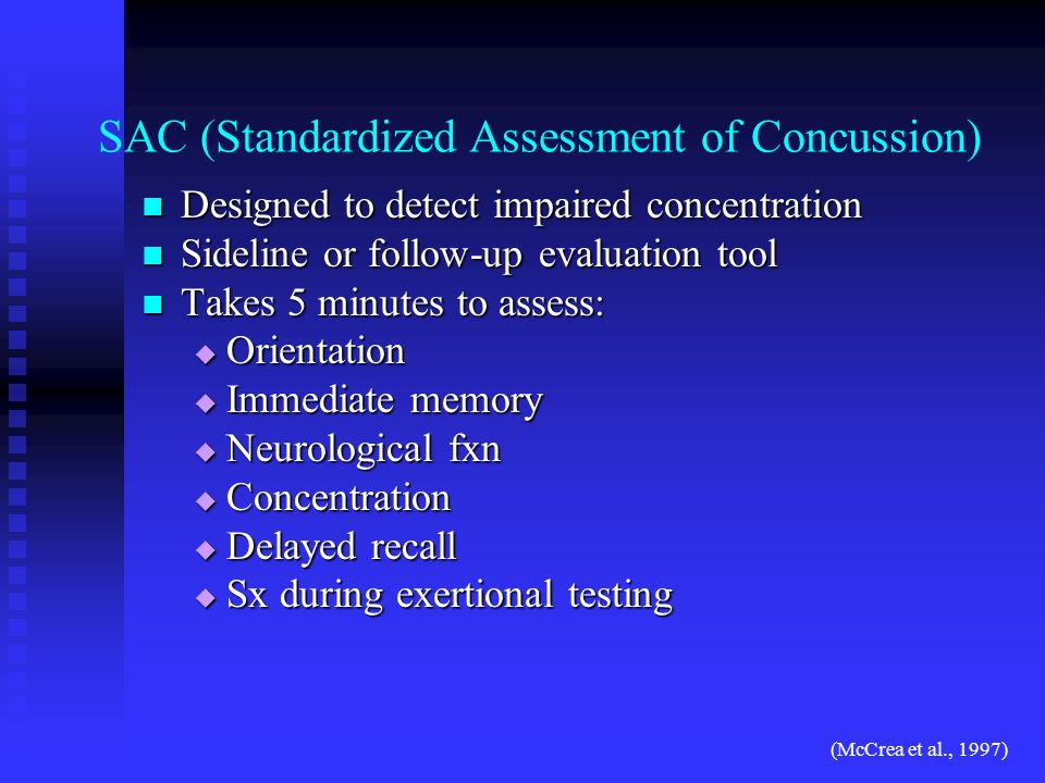 SAC (Standardized Assessment of Concussion)