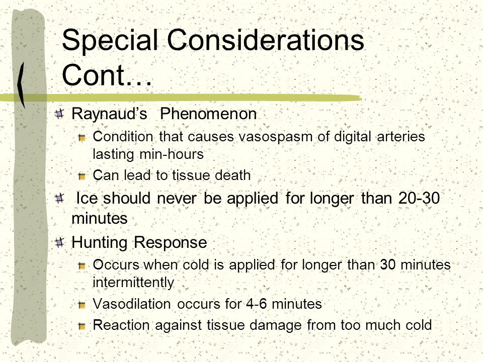 Special Considerations Cont…