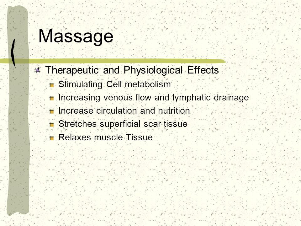 Massage Therapeutic and Physiological Effects