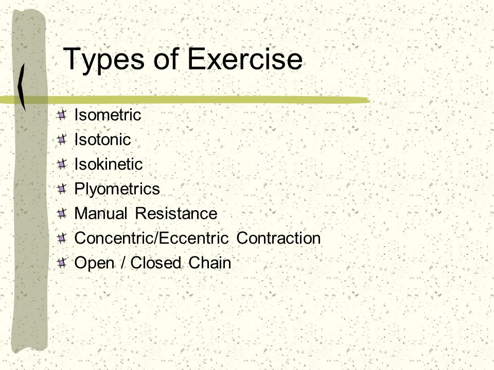 Types of Exercise Isometric Isotonic Isokinetic Plyometrics