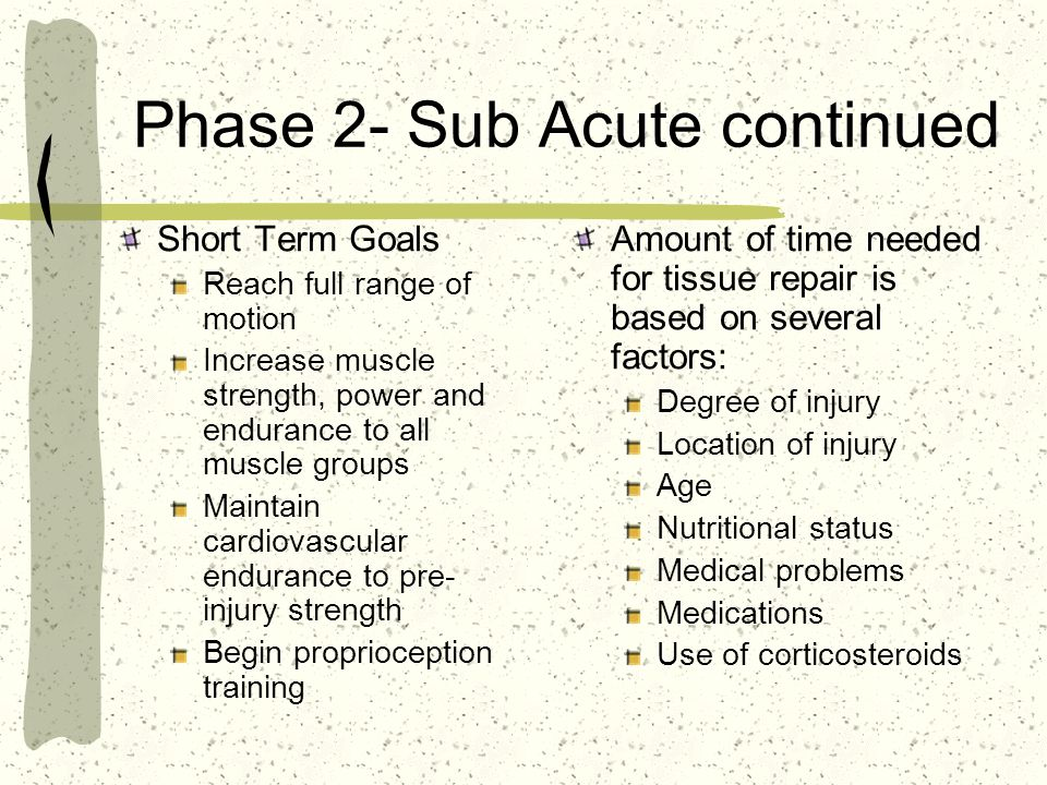 Phase 2- Sub Acute continued
