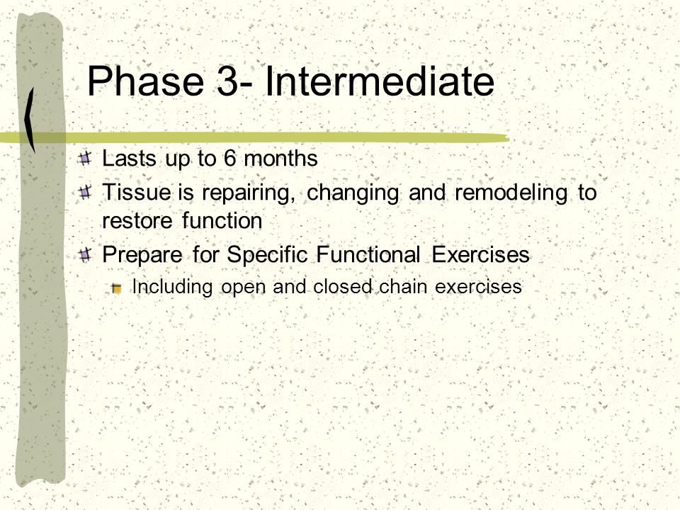 Phase 3- Intermediate Lasts up to 6 months