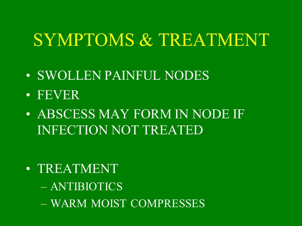 SYMPTOMS & TREATMENT SWOLLEN PAINFUL NODES FEVER