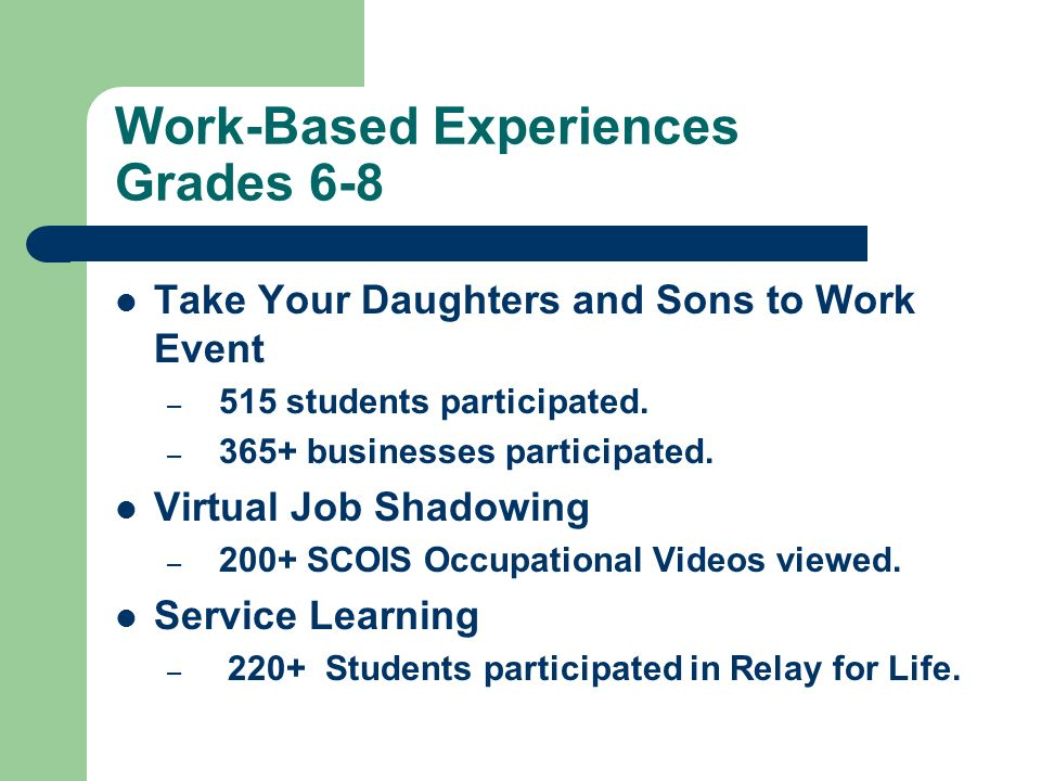 Work-Based Experiences Grades 6-8