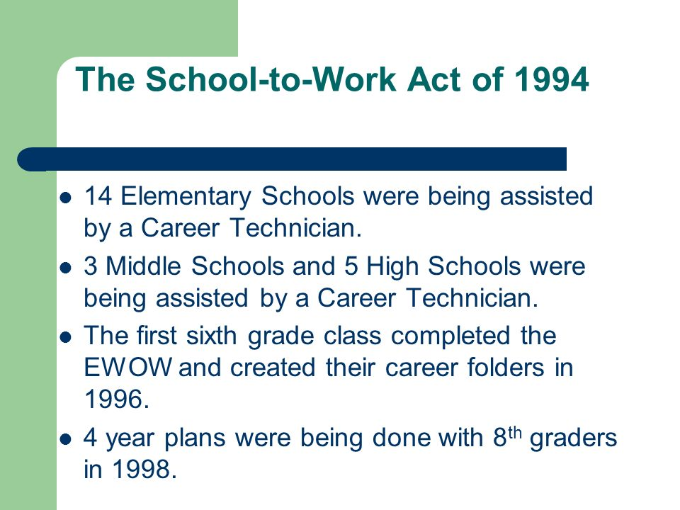 The School-to-Work Act of 1994