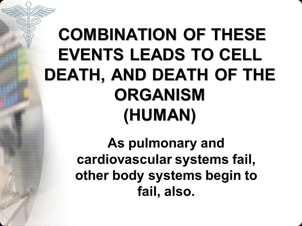 COMBINATION OF THESE EVENTS LEADS TO CELL DEATH, AND DEATH OF THE ORGANISM (HUMAN)