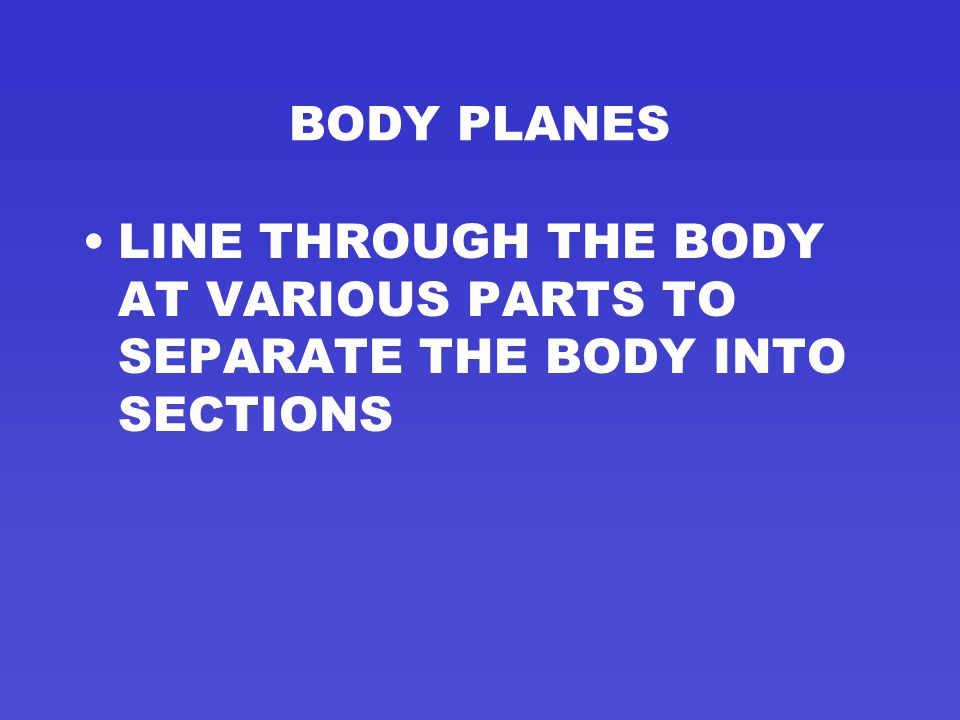 BODY PLANES LINE THROUGH THE BODY AT VARIOUS PARTS TO SEPARATE THE BODY INTO SECTIONS