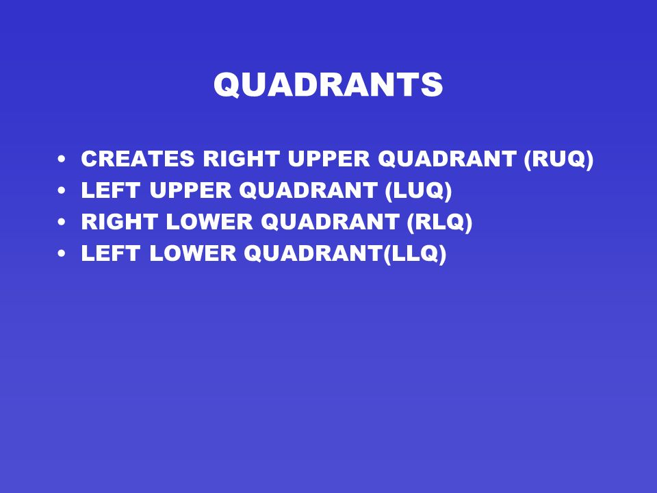 QUADRANTS CREATES RIGHT UPPER QUADRANT (RUQ) LEFT UPPER QUADRANT (LUQ)