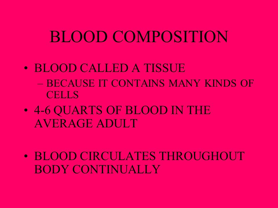 BLOOD COMPOSITION BLOOD CALLED A TISSUE