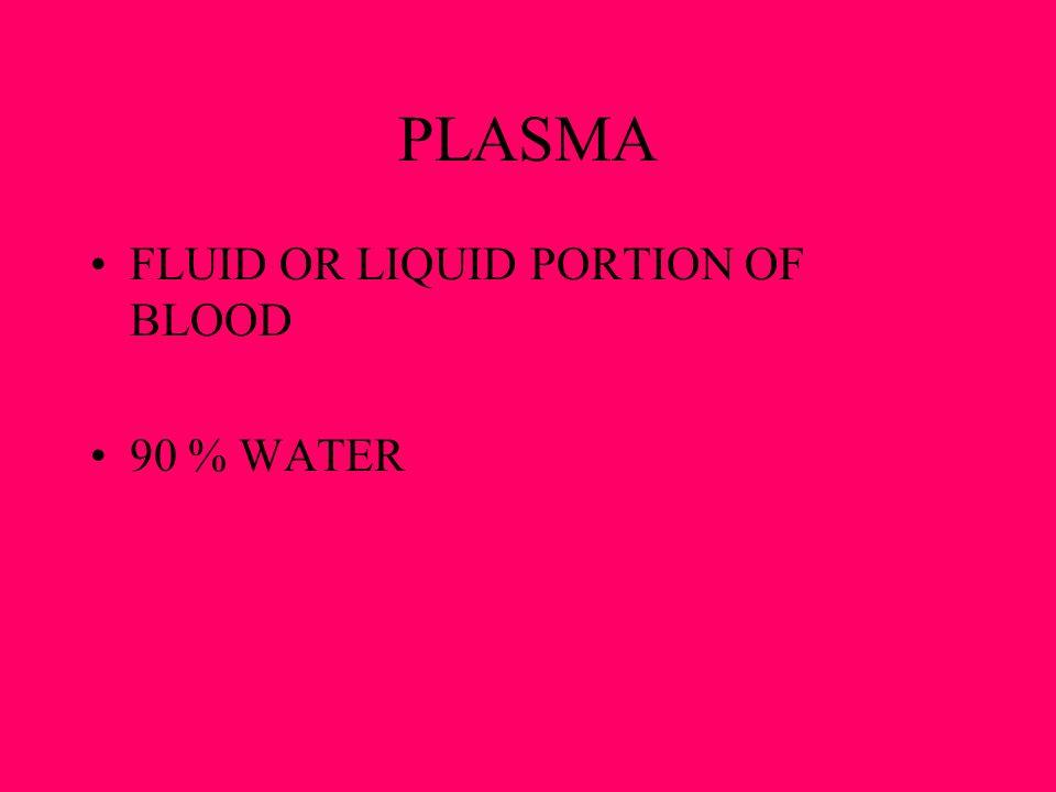 PLASMA FLUID OR LIQUID PORTION OF BLOOD 90 % WATER
