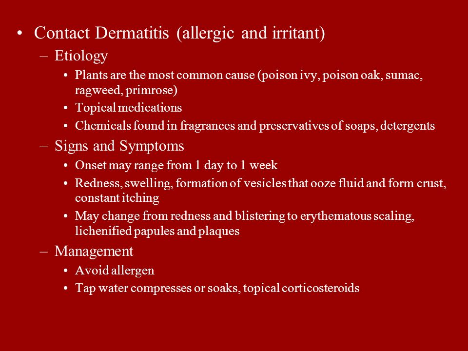 Contact Dermatitis (allergic and irritant)
