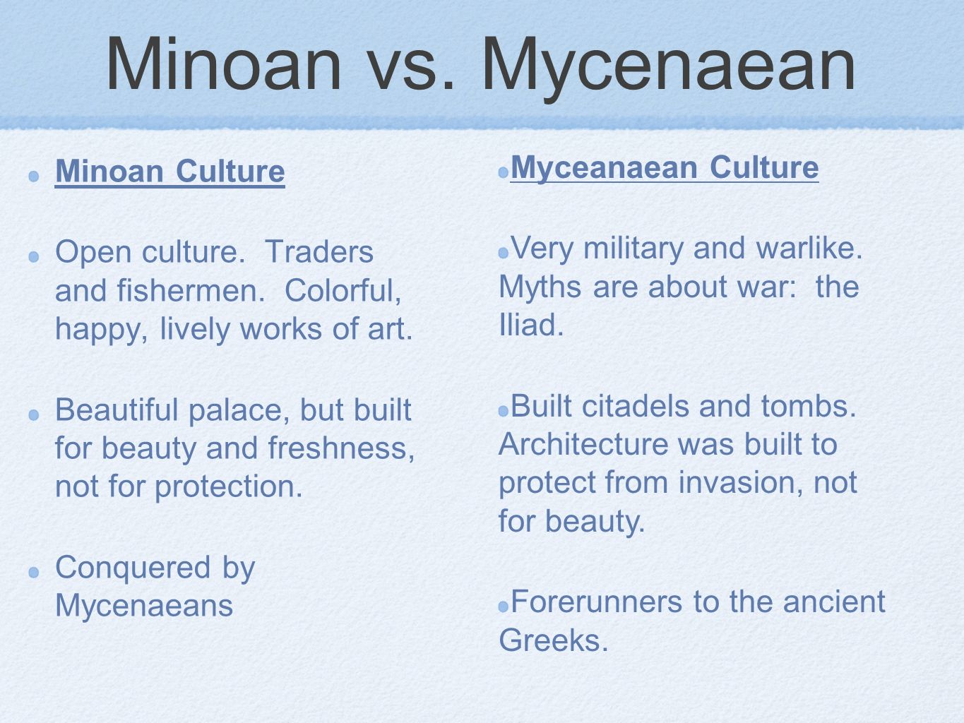minoan mycenaean similarities Many similarities and differences exist between the minoan and mycenaean cultures these characteristics that defined these societies correlate directly to the.