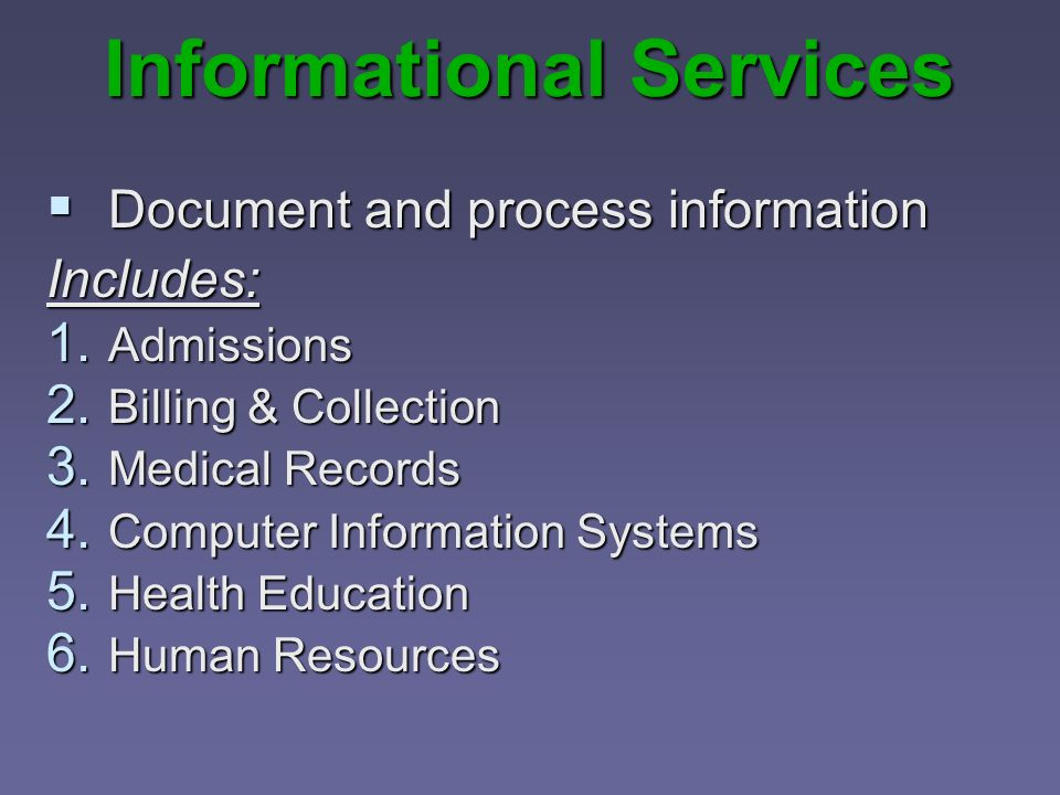 Informational Services