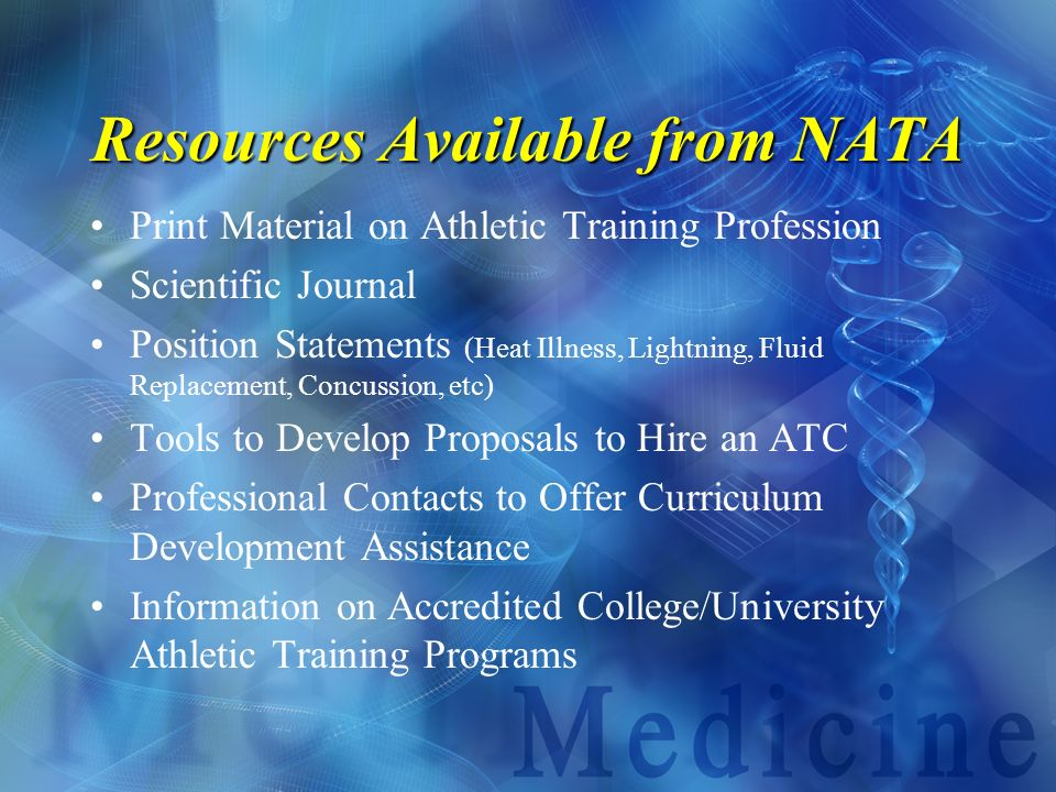 Resources Available from NATA