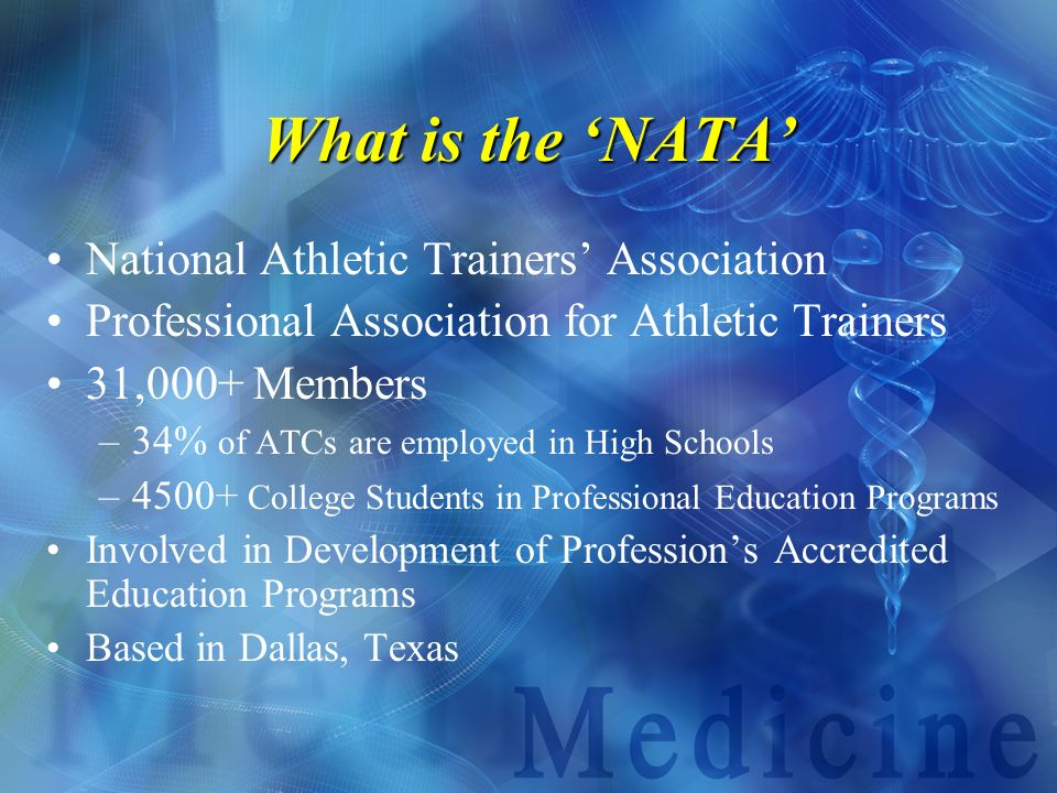 What is the 'NATA' National Athletic Trainers' Association