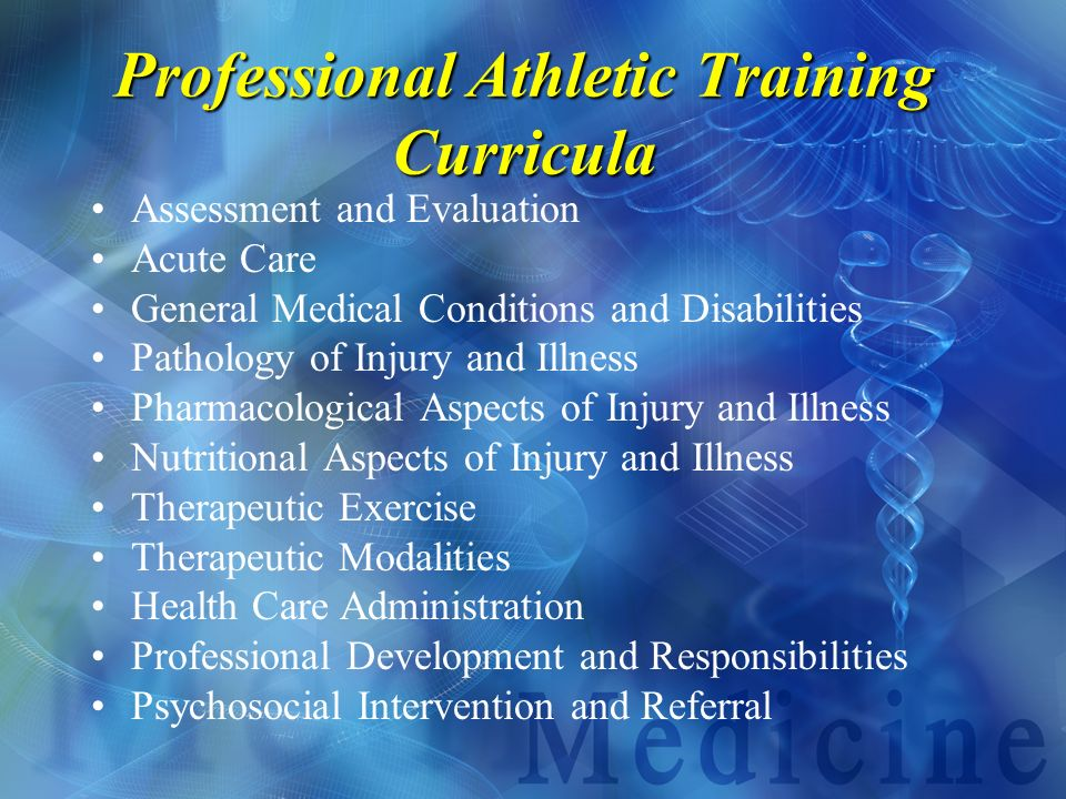 Professional Athletic Training Curricula
