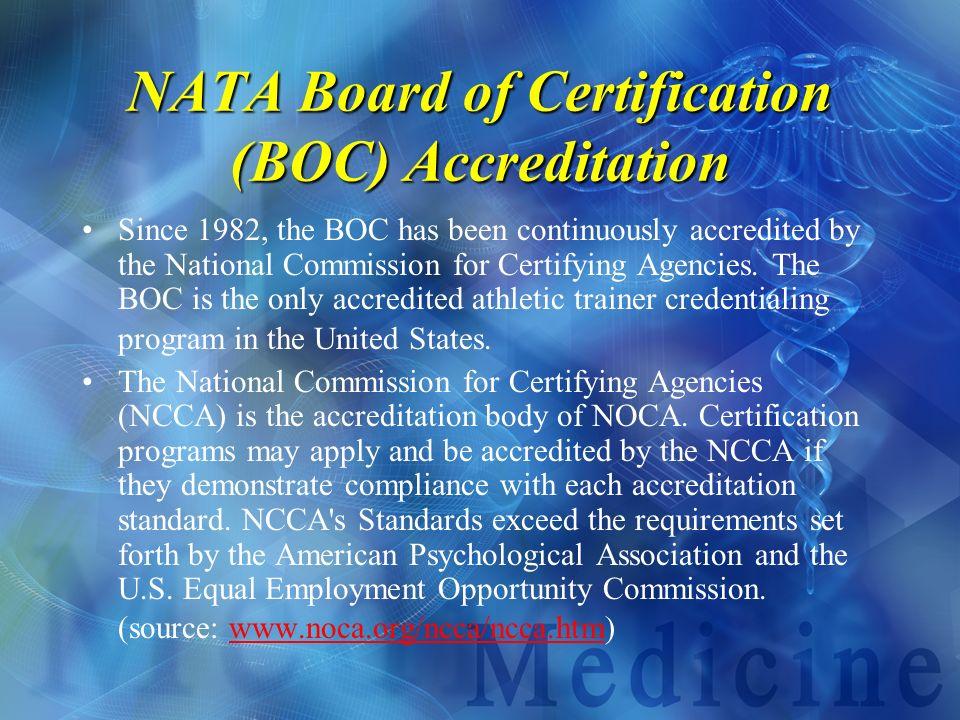 NATA Board of Certification (BOC) Accreditation