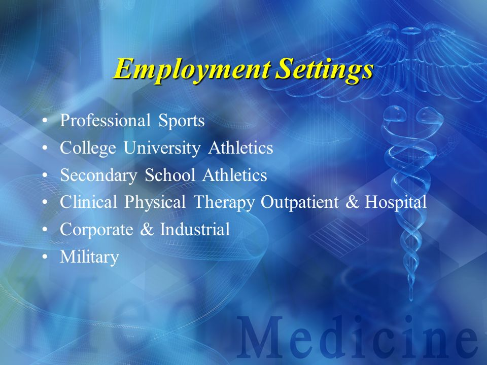 Employment Settings Professional Sports College University Athletics