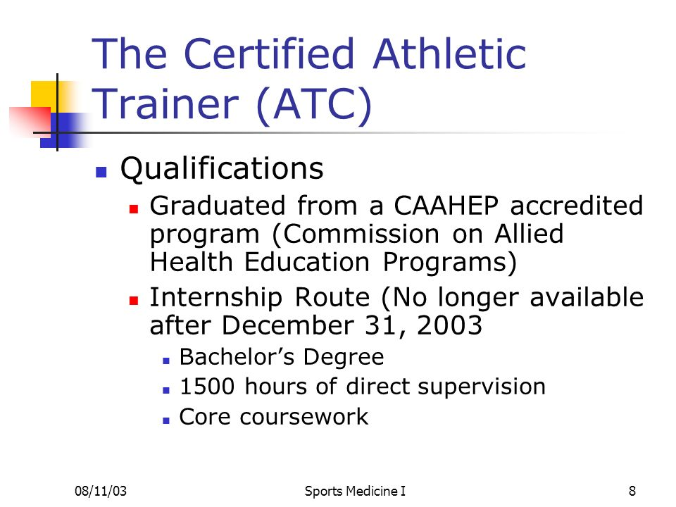 The Certified Athletic Trainer (ATC)