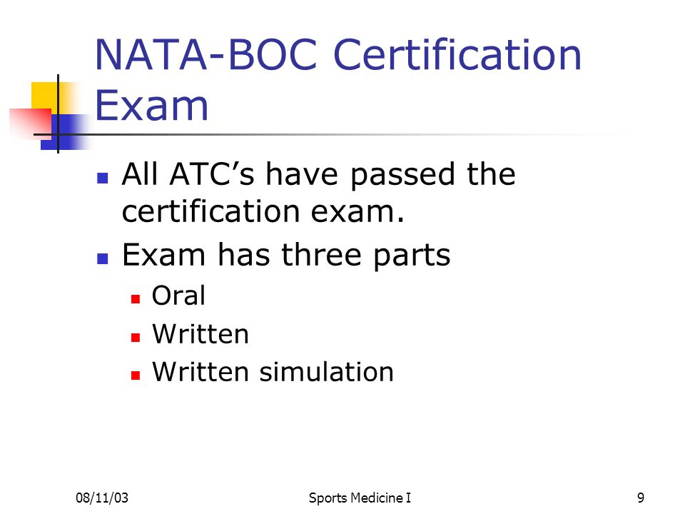 NATA-BOC Certification Exam