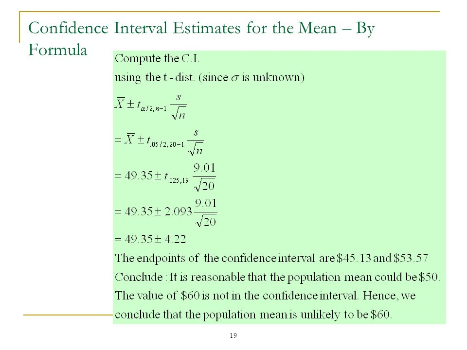 Confidence Interval Estimates for the Mean – By Formula
