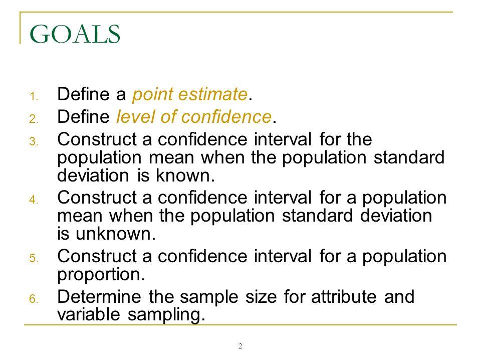 GOALS Define a point estimate. Define level of confidence.