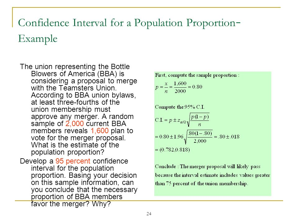 Confidence Interval for a Population Proportion- Example