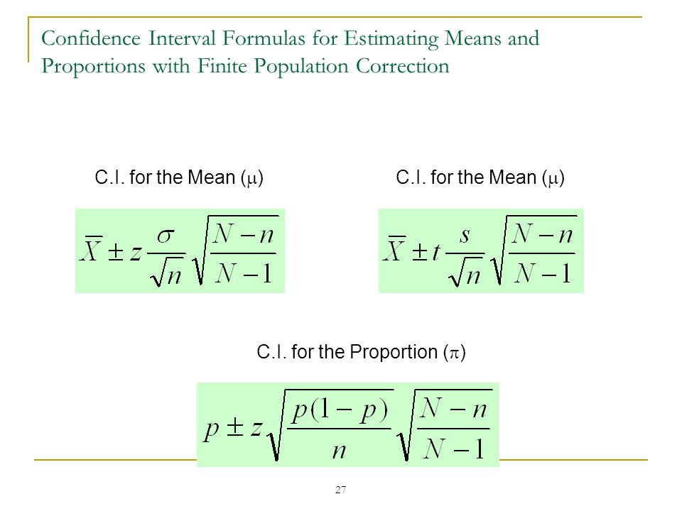 Confidence Interval Formulas for Estimating Means and Proportions with Finite Population Correction
