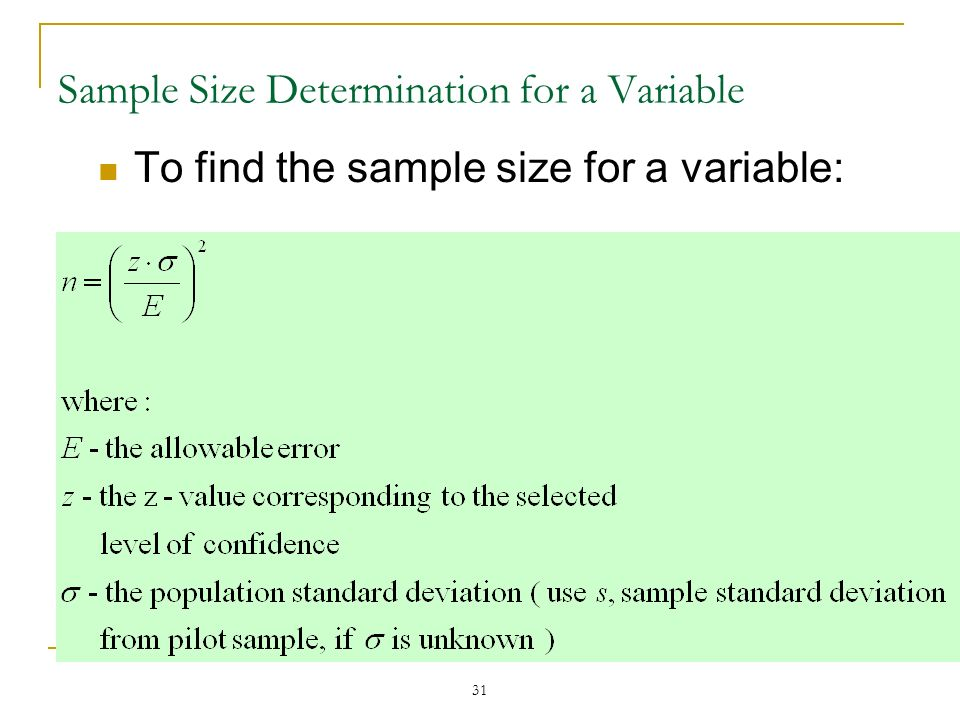 Sample Size Determination for a Variable