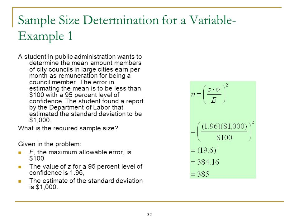 Sample Size Determination for a Variable-Example 1
