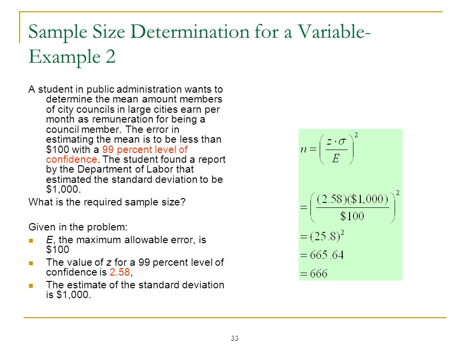 Sample Size Determination for a Variable-Example 2