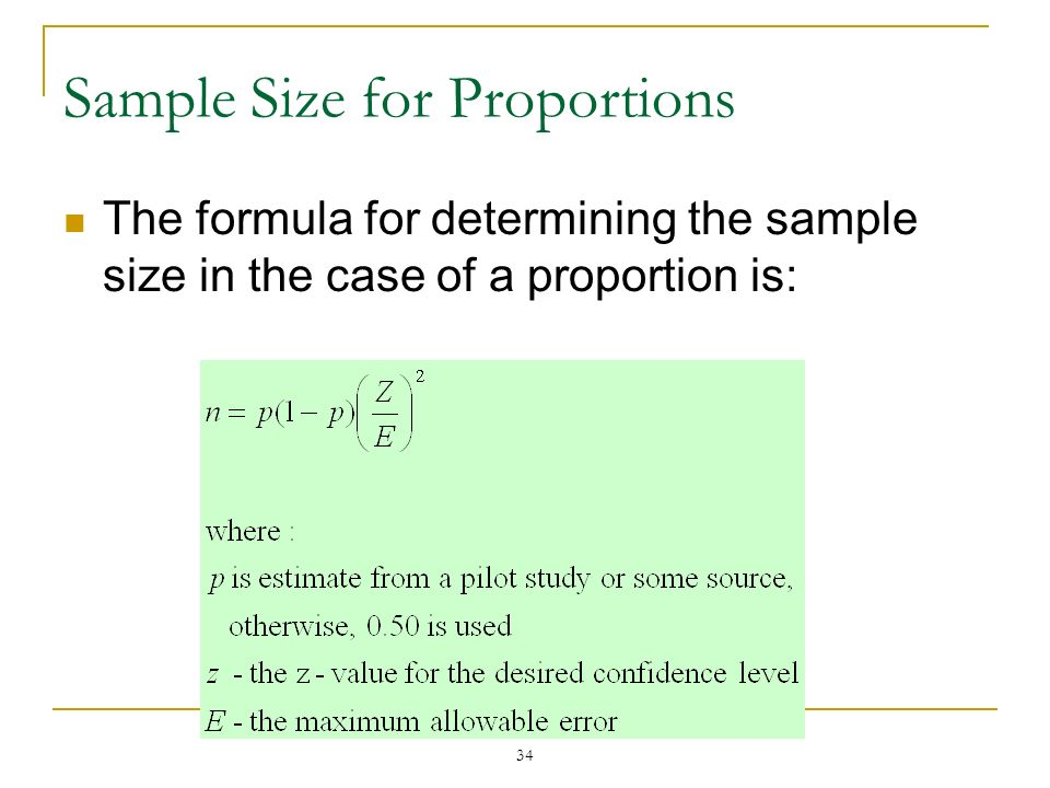 Sample Size for Proportions