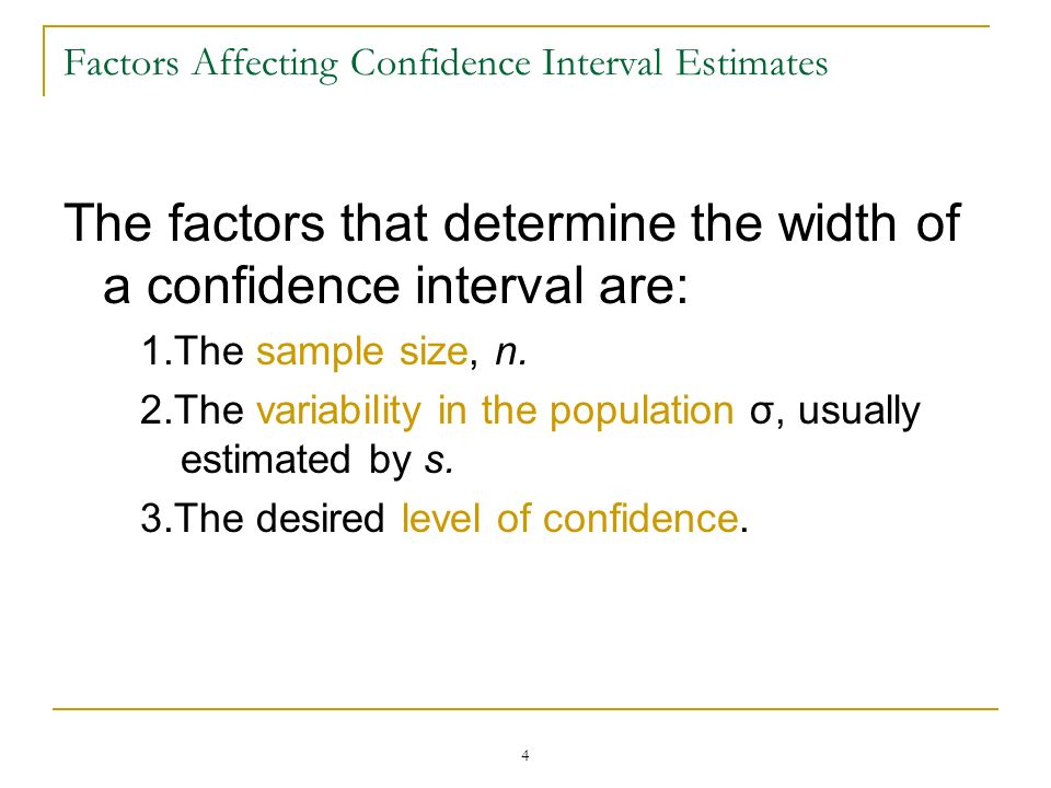 Factors Affecting Confidence Interval Estimates