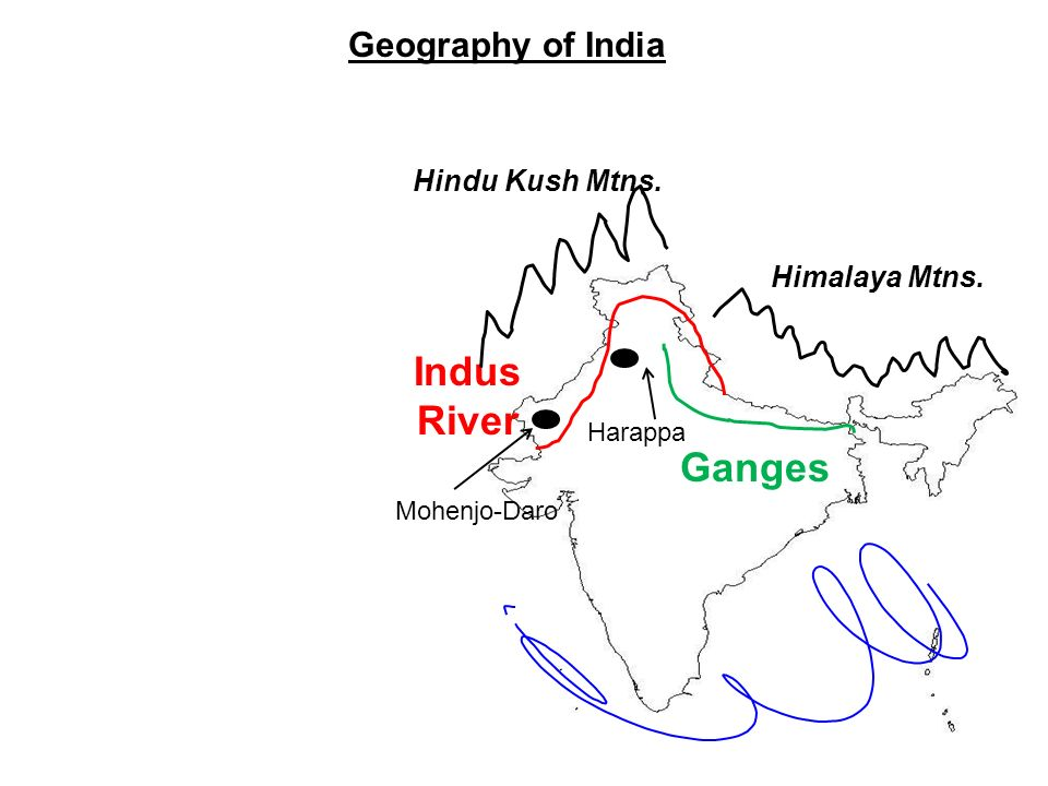Indus River Ganges Geography of India Hindu Kush Mtns. Himalaya Mtns.