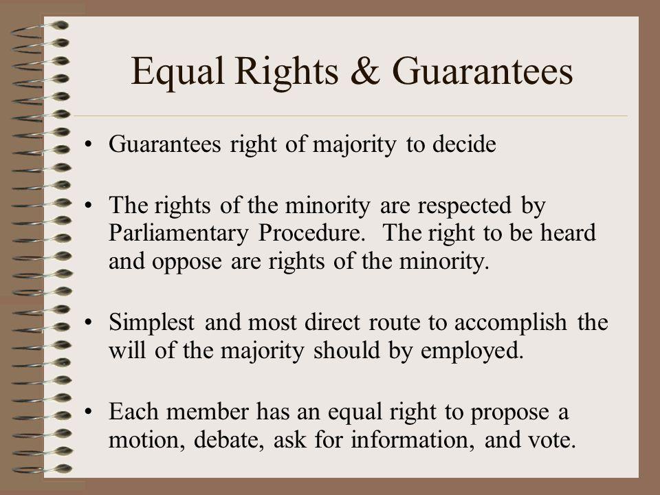 Equal Rights & Guarantees