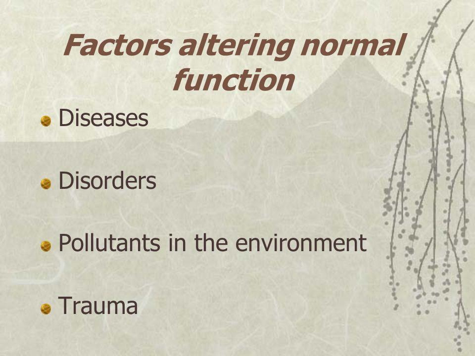 Factors altering normal function