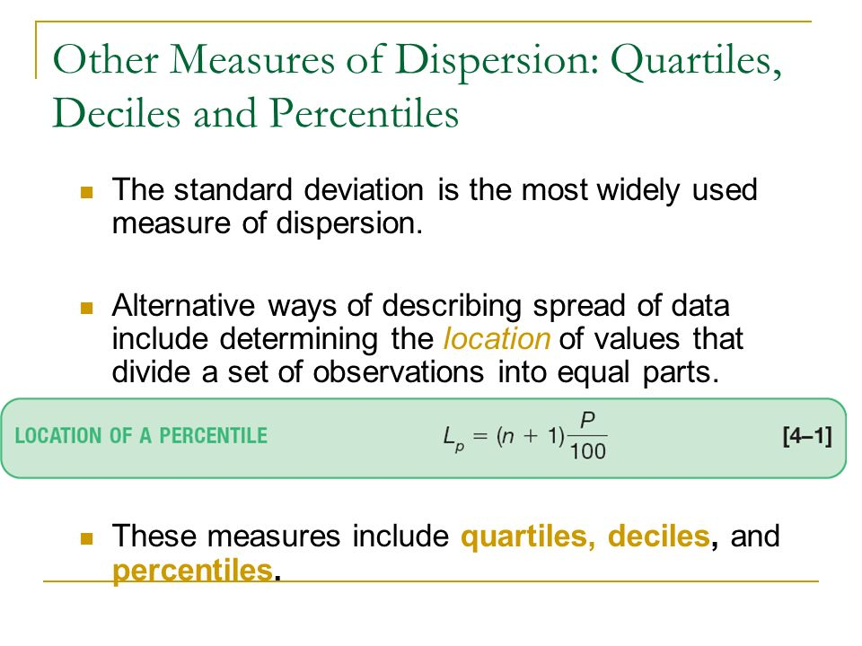 Other Measures of Dispersion: Quartiles, Deciles and Percentiles