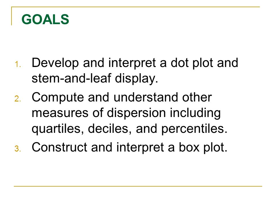 GOALS Develop and interpret a dot plot and stem-and-leaf display.