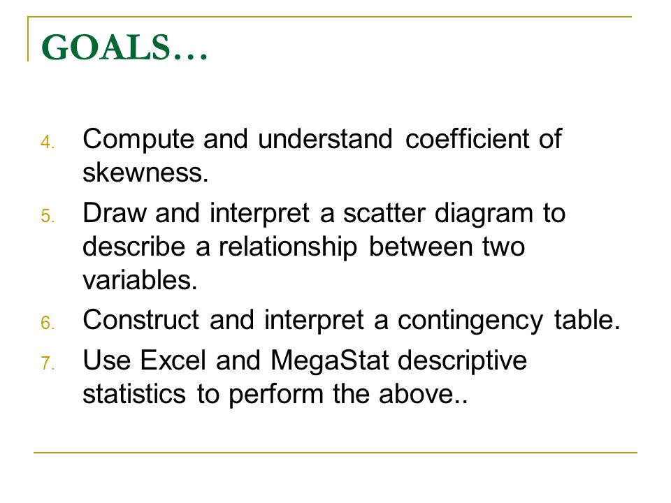 GOALS… Compute and understand coefficient of skewness.