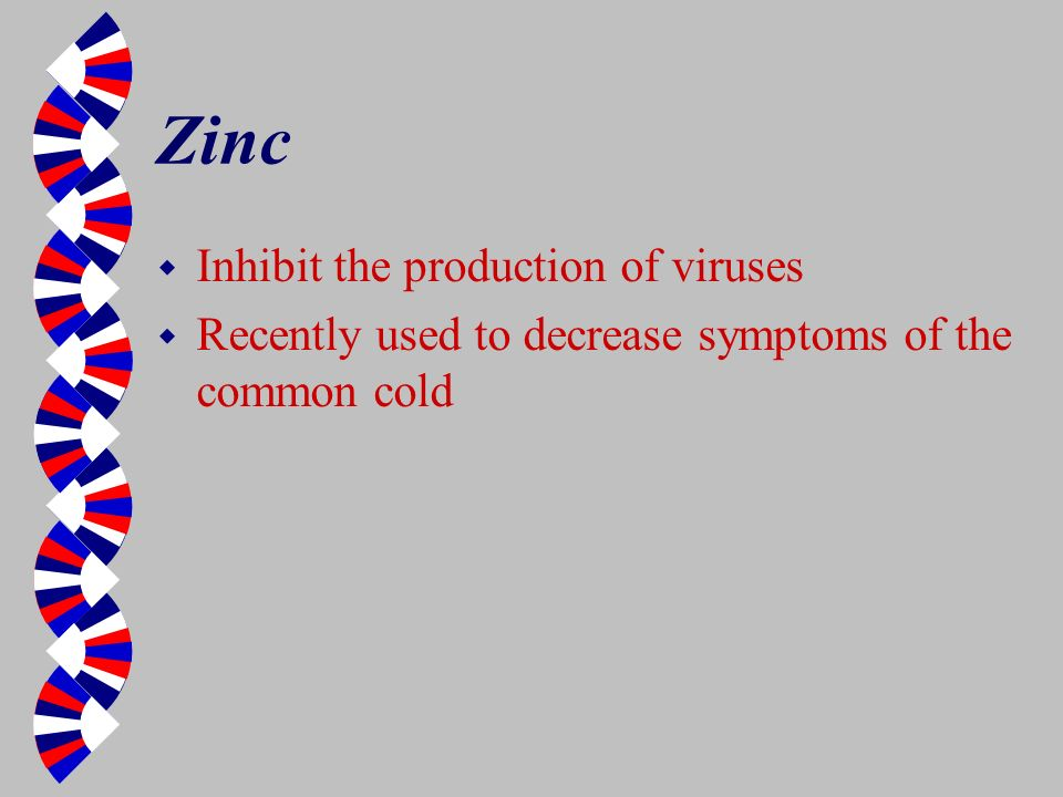 Zinc Inhibit the production of viruses