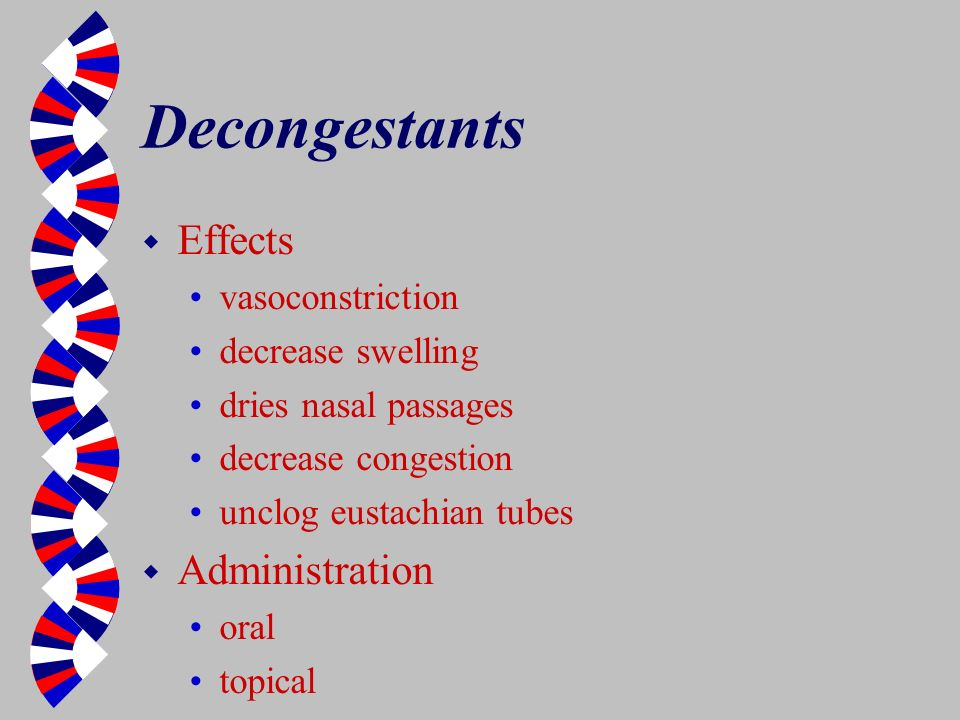 Decongestants Effects Administration vasoconstriction