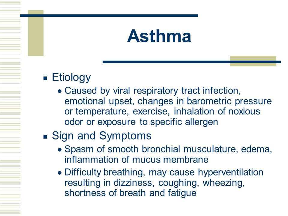 Asthma Etiology Sign and Symptoms