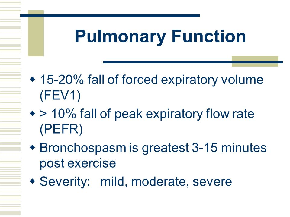 Pulmonary Function 15-20% fall of forced expiratory volume (FEV1)