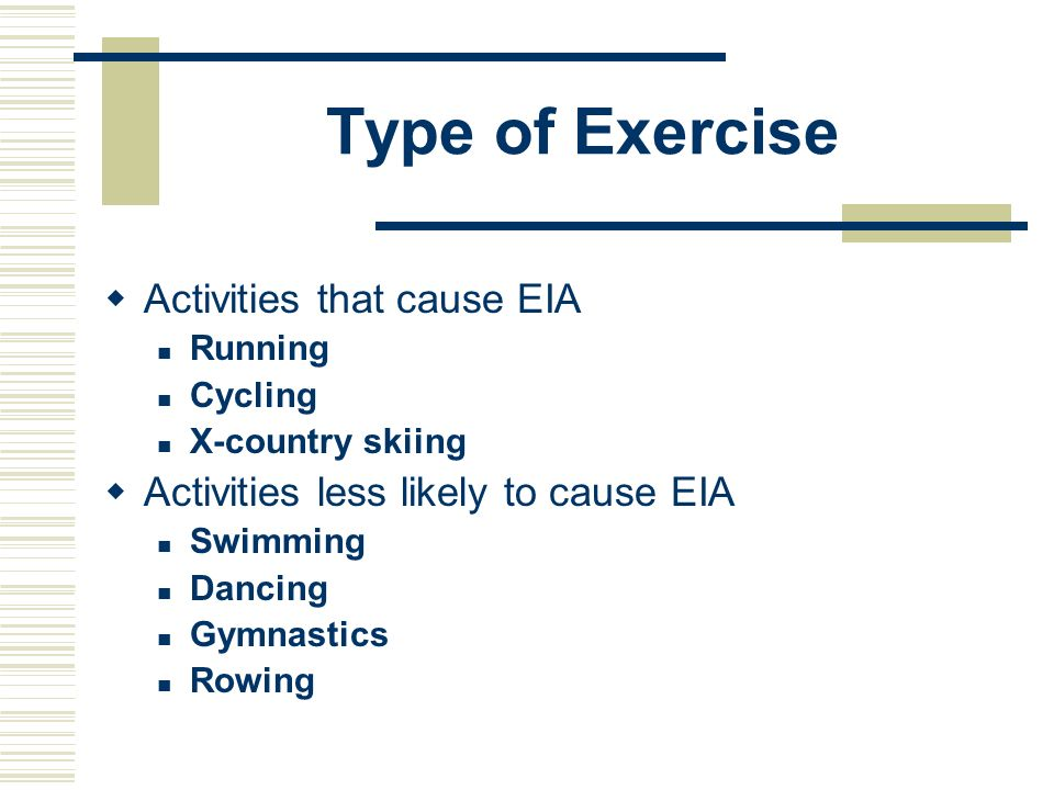 Type of Exercise Activities that cause EIA