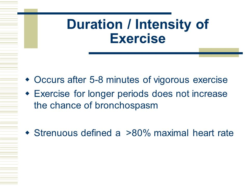 Duration / Intensity of Exercise